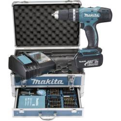 Makita Accuklopboor schroefmachine 18 V 3.0 Ah Li ion Incl. 2 accus Incl. koffer Incl. accessoires